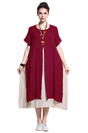 2c8d70eb1ce Amazon.com  Anysize Fake-Two-Piece Soft Linen Cotton Dress Spring Summer  Plus Size Clothing Y110  Clothing
