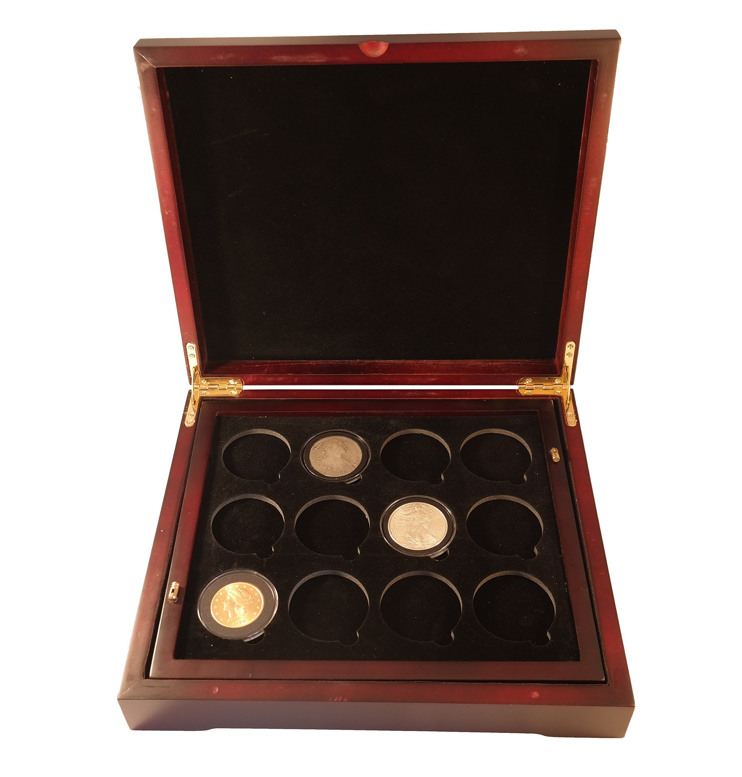 Coin Tray for 12 Extra Large or Air-Tite ''I'' Capsules / 2'' Challenge Coins fits in Mahogany Finish Wood Display Case by Guardhouse (Image #5)