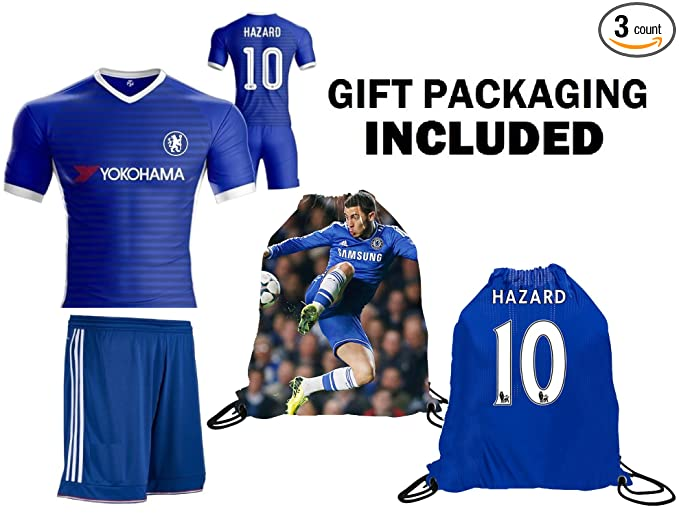 ab21c562c59 Amazon.com : Fan Kitbag Hazard #10 Chelsea Youth Home / Away Soccer Jersey  & Shorts Kids Premium Gift Kitbag ✮ BONUS Hazard #10 Drawstring Backpack ...