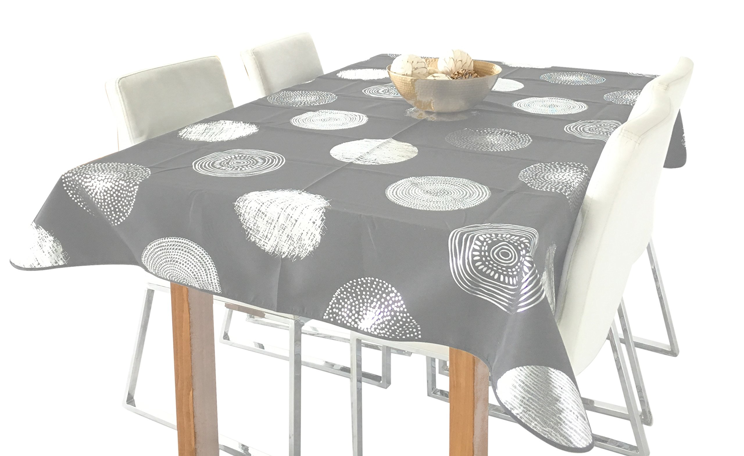 My Jolie Home Silver Circle Rectangular Stain Resistant Tablecloth, 60 x 95-Inch - Grey & Silver - Rectangular Tablecloth - Seats 8 to 10 People Stain resistant, spill-proof, liquid spills bead up, teflon coating makes clean-up easy Tablecloths are great for dinners: kids parties, picnics; BBQ's, potlucks, parties, holidays, and restaurants. - tablecloths, kitchen-dining-room-table-linens, kitchen-dining-room - 81dUa22MqcL -