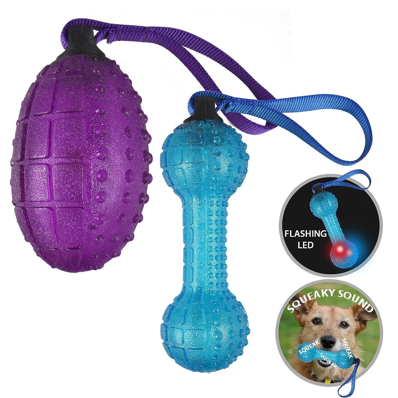 ASAB - Juguete para perro, para intermitente Boredom con luz LED, interactivo, sonido, juguete, granada, forma de mancuerna, color al azar: Amazon.es: ...