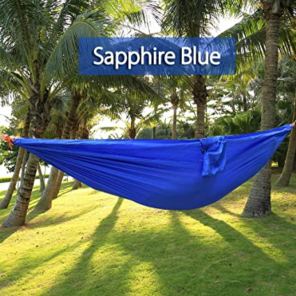 One Person Hammock Assorted Color Garden Swing Chair Nylon Fabric Hammock  With Strong Rope Outdoor Seating