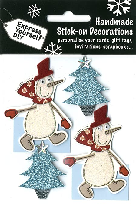 Christmas Toppers For Card Making.Express Yourself Mip Self Adhesive Snowmen Christmas