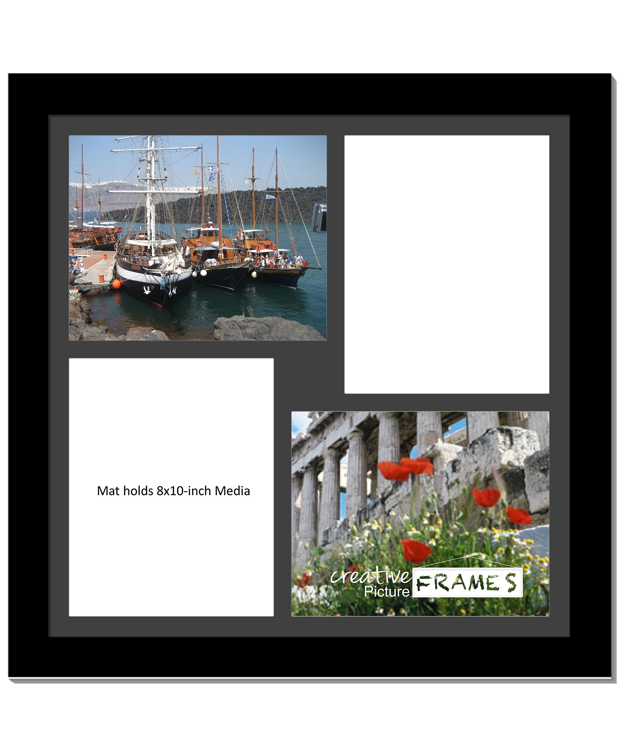 CreativePF [2020bk] Black Picture Frame with 4 Opening Black Mat/White Core Core Collage to Hold 8x10-inch Media,Includes Installed Sawtooth Hangers