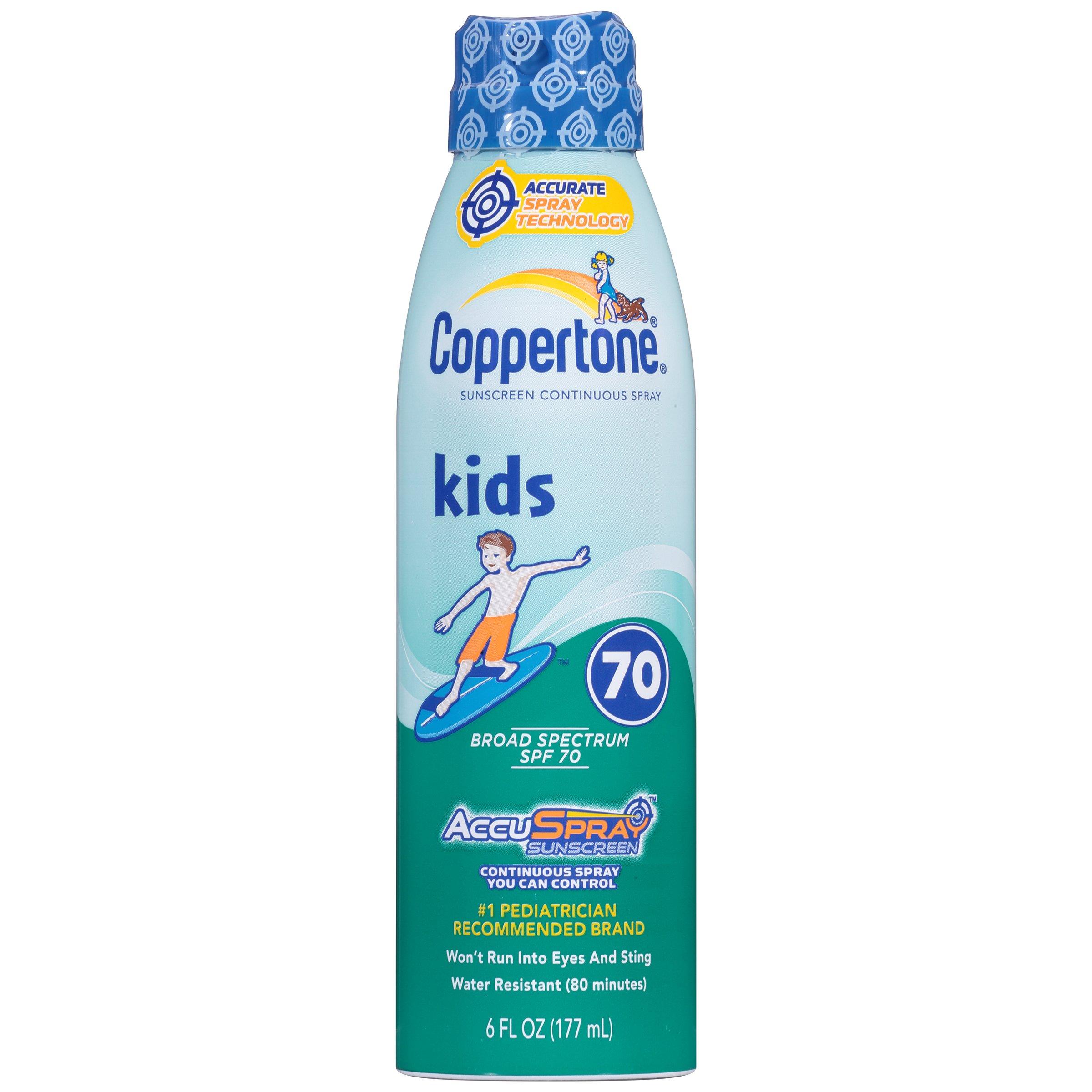 Coppertone Kids Clear C-Spray SPF 70, 6 Fluid Ounce
