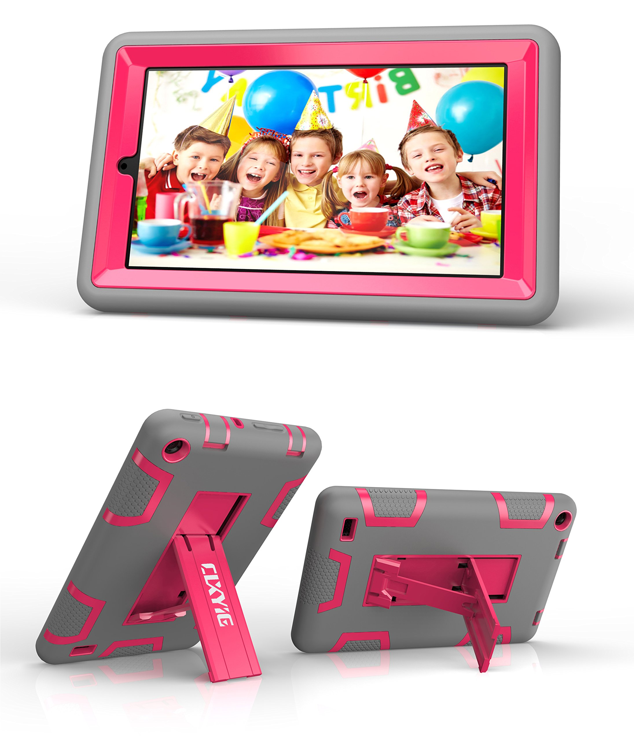 CLXYIG Kindle Fire 7''Case,[Kickstand ][Shockproof]Hybrid High Impact Resistant PC + Soft Silicone Armor Defender Protective Case for Amazon Kindle Fire 7 inch 2015 release (Grey,RoseRed)