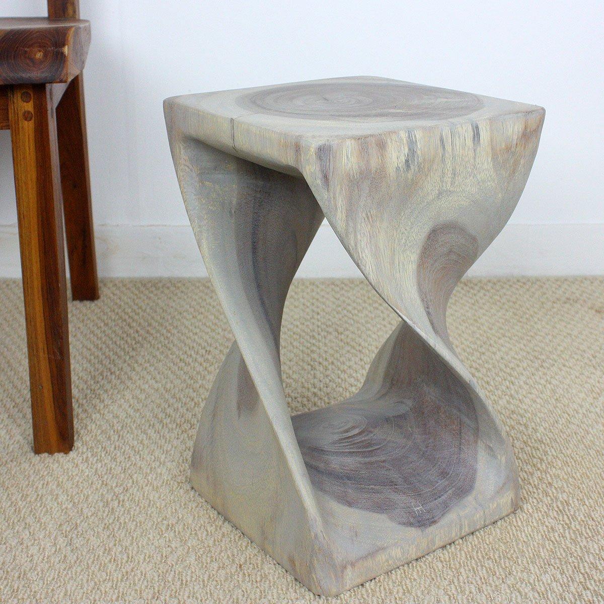 Strata Furniture TS1016-AGR Twist End Table, Grey, 16''