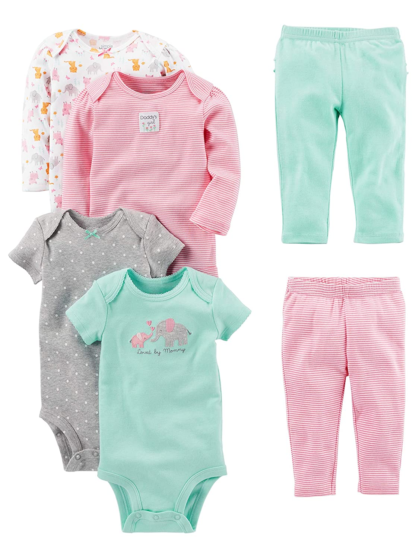 Pink//Mint Ruffle Simple Joys by Carters Baby Girls 6-Piece Little Character Set Newborn