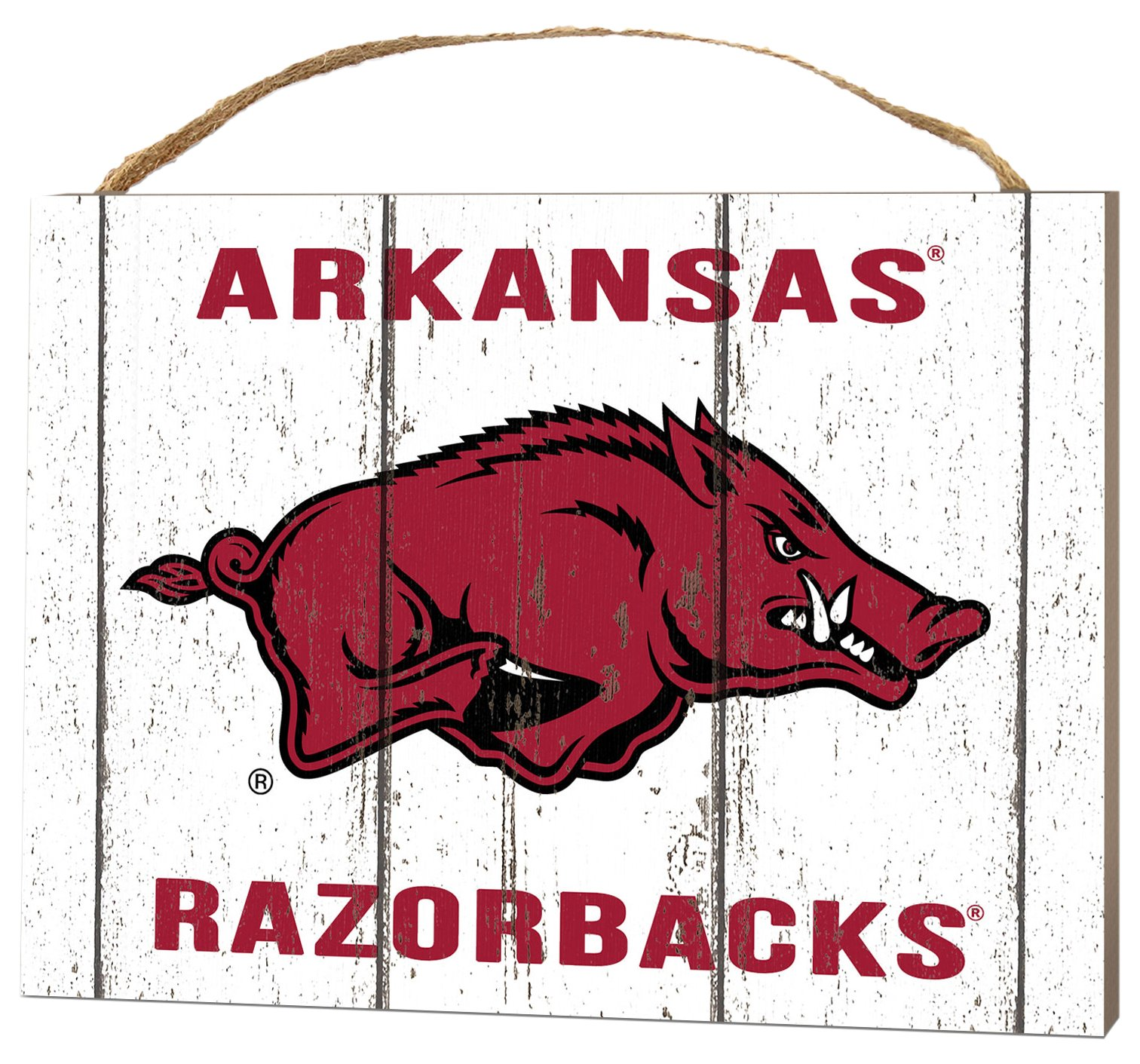 KH Sports Fan 4'' x 5.5'' Arkansas Razorbacks Weathered Logo Small College Plaque