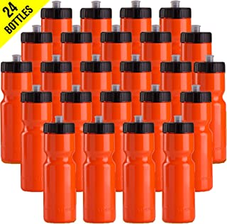 product image for Sports Squeeze Water Bottle Bulk Pack - 24 Bottles - 22 oz. BPA Free Easy Open Push/Pull Cap - Made in USA (Orange)