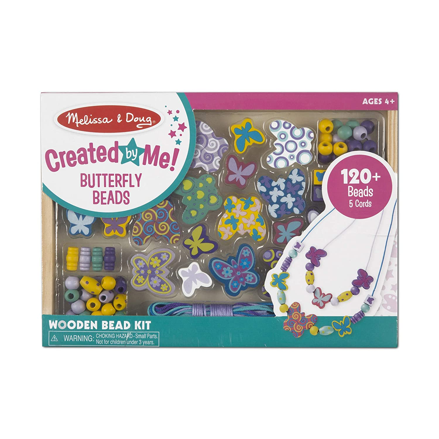 Melissa Doug Butterfly Friends Wooden Bead Set With 120 Beads for Jewelry Making