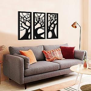 Metal Tree Wall Art 3 Panels, Tree of Life, Tree Sign, Metal Wall Decor, 3 Pieces Wall Hangings, Metal Wall Art, Home Decoration Sign