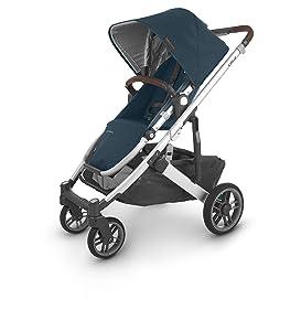 UPPAbaby CRUZ V2 Stroller - FINN (deep sea/silver/chestnut leather), Blue
