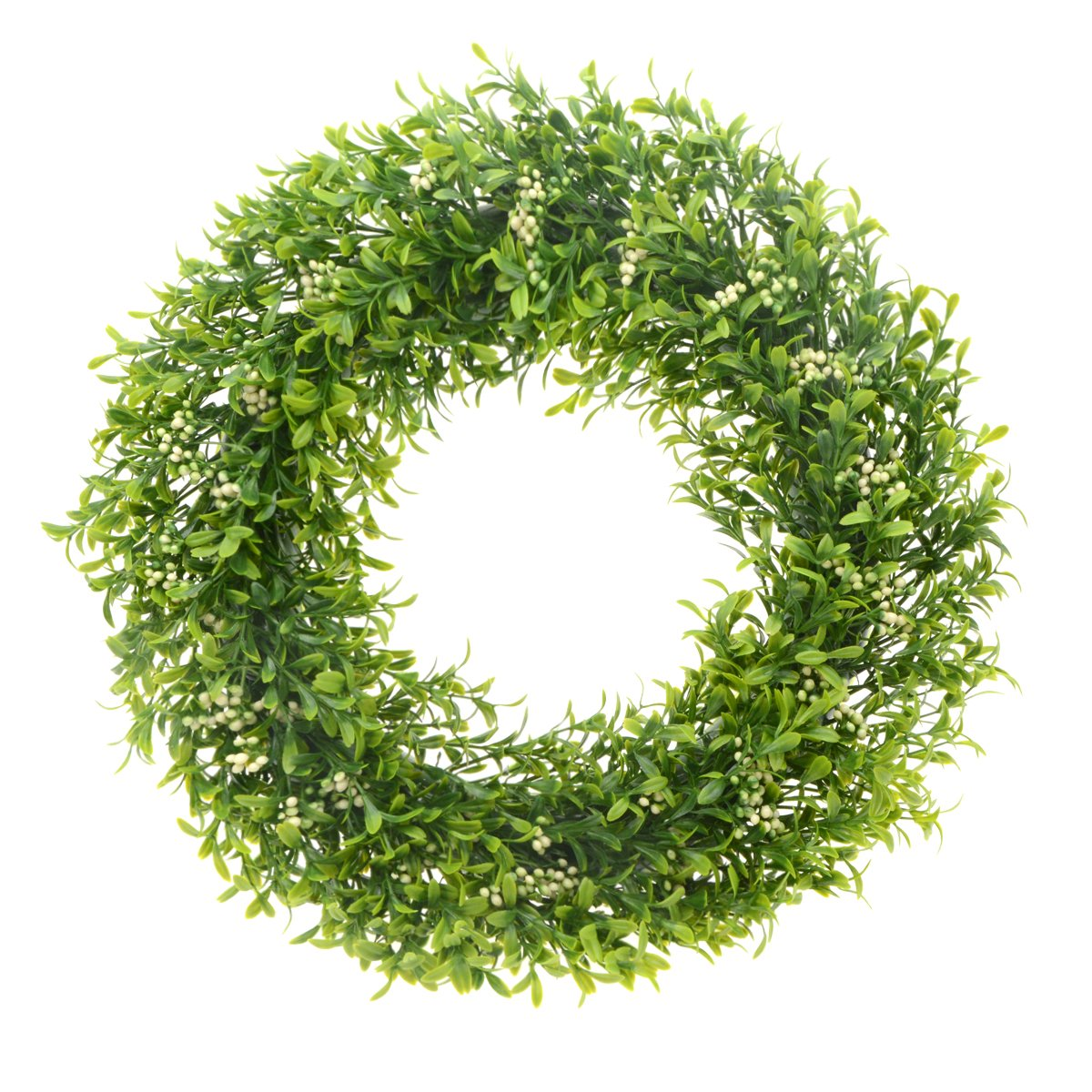 Saim 15''-16'' Artificial Round Wreath Spring Front Door Wreath Greenery Garland Home Office Wall Wedding Decor