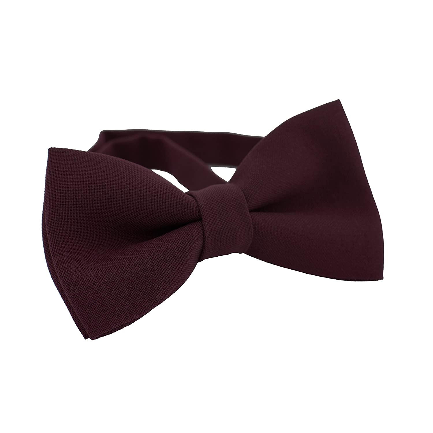 Classic Pre-Tied Bow Tie Formal Solid Tuxedo, by Bow Tie House (Small, Dark Purple) 09219