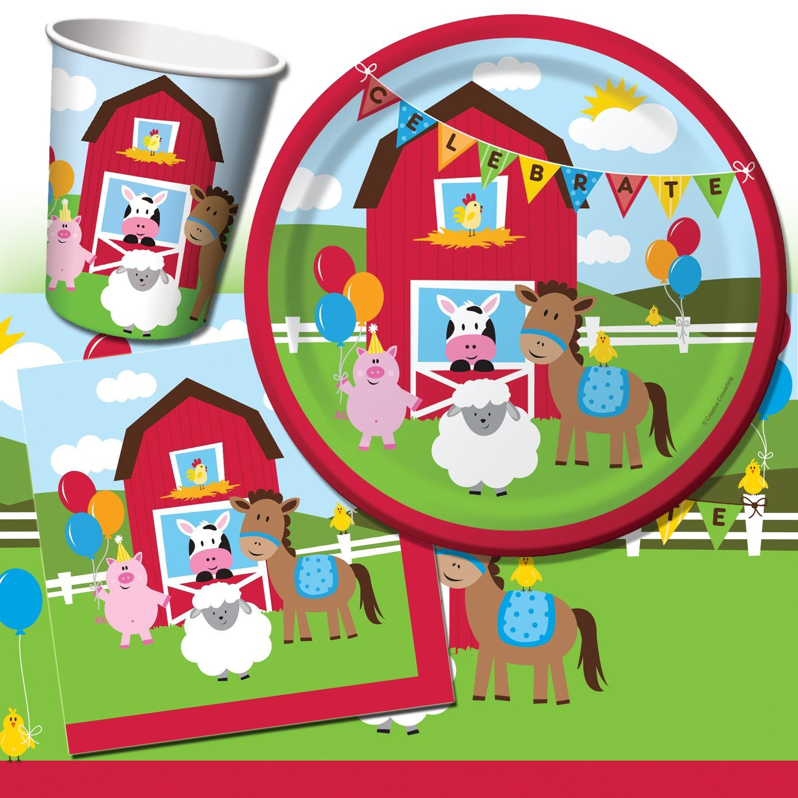 Farmhouse Fun Animals Birthday Party Complete Tableware Pack Kit For 8