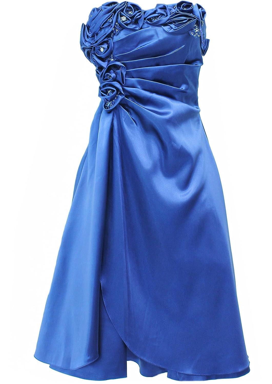 JuJu & Christine Kurzes Satin Kleid, Abendkleid, Ballkleid, Cocktailkleid (A2505) Blau Gr. 40