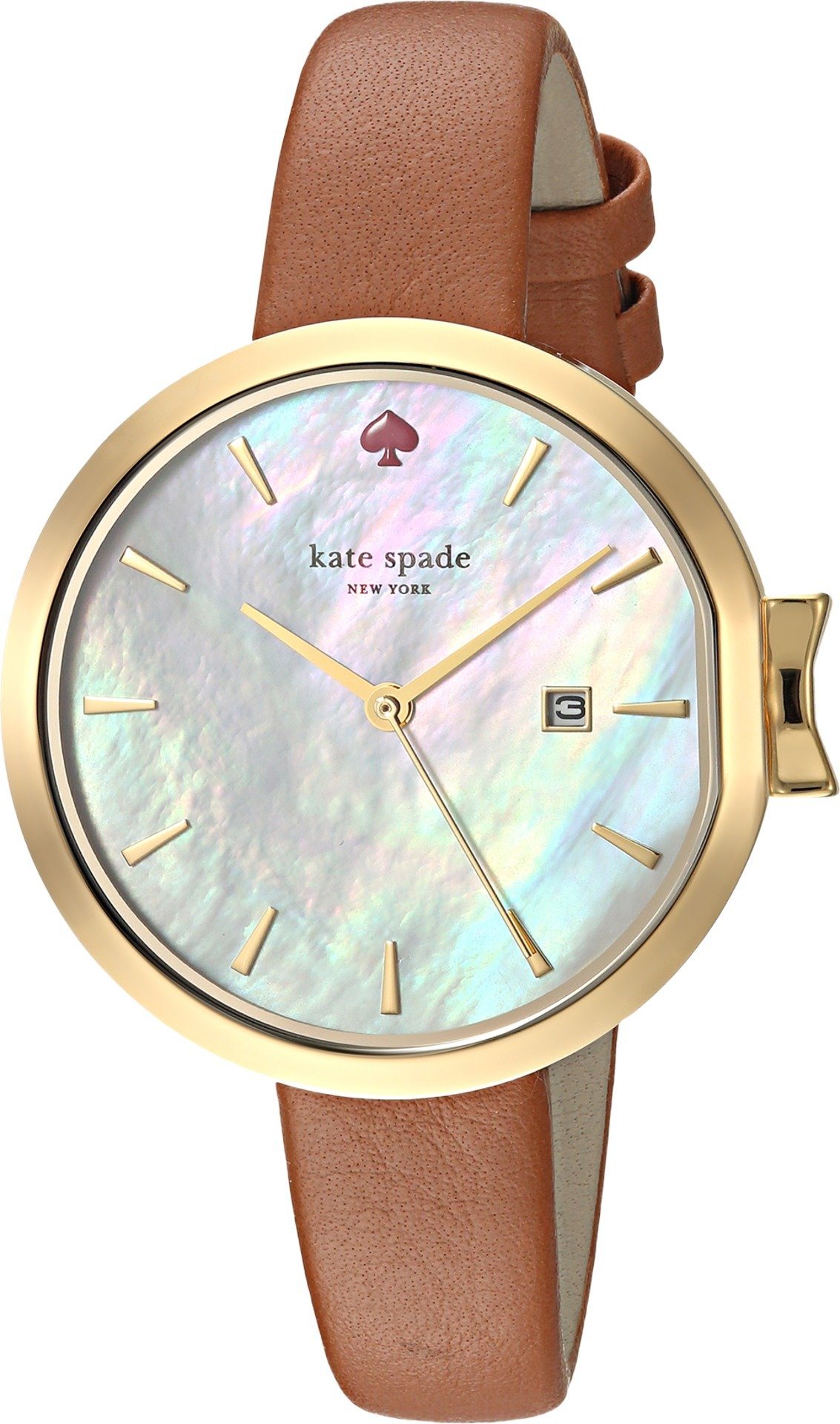 Kate Spade New York Women's 'Park Row' Quartz Stainless Steel and Leather Casual Watch, Color Brown (Model: KSW1324)