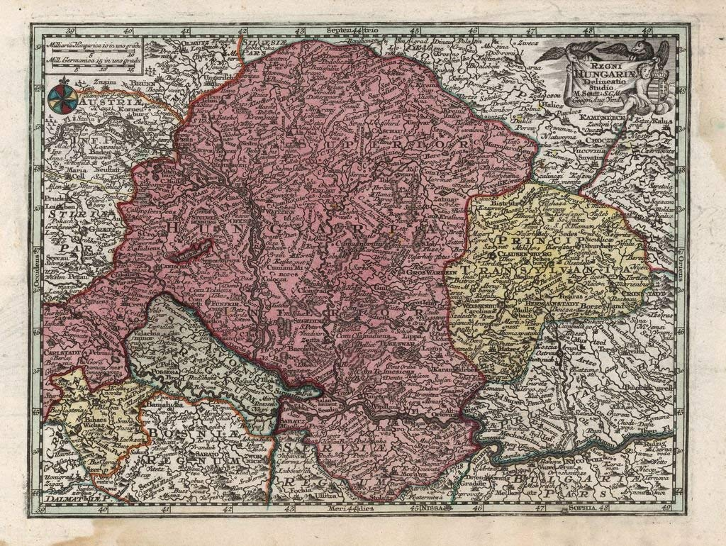 Lais Puzzle Matthäus Seutter Landkarte - Atlas Novas Indicibus Instructus (1744) - Regni Hungariae (Königreich Ungarn) - Motivserie 2000 Teile