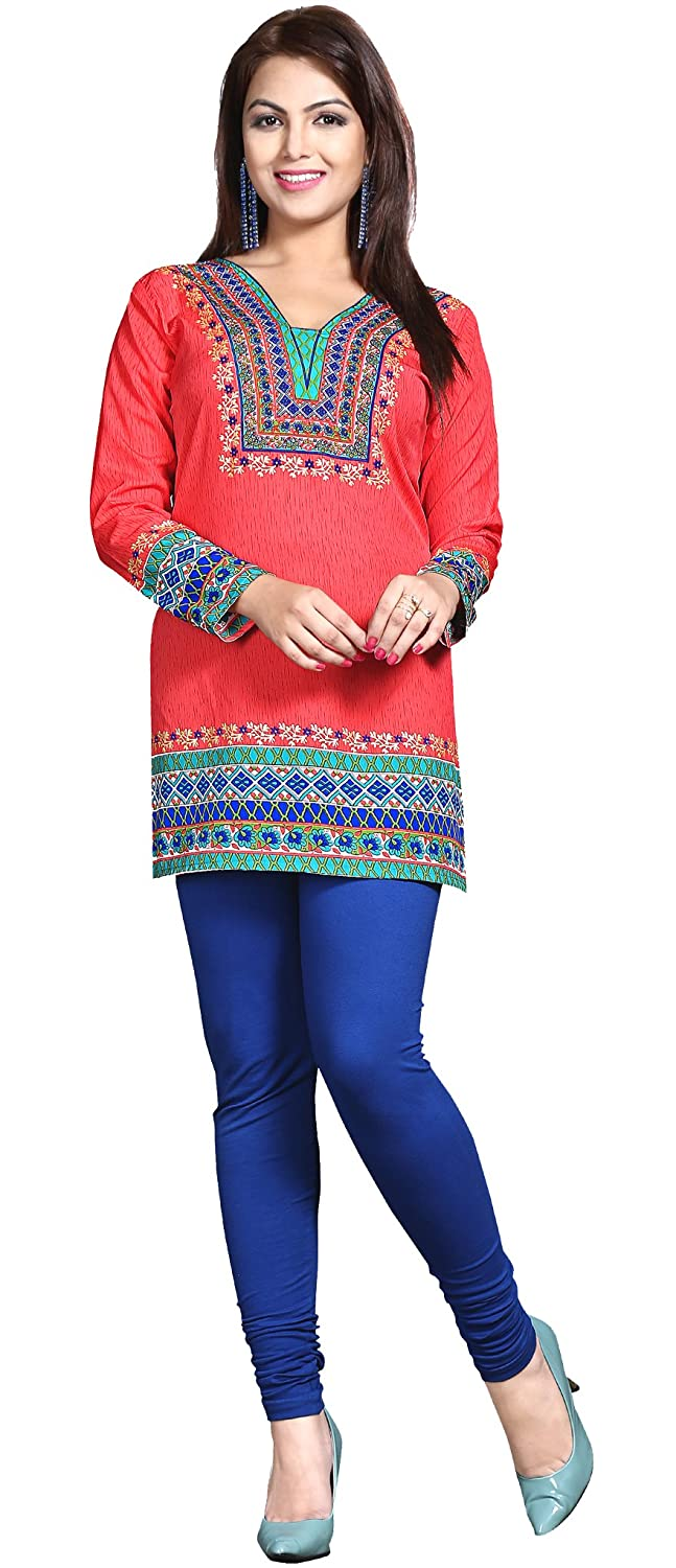Maple Clothing Womens Printed Kurti Tunic Top Short Blouse Indian Clothes Event129p