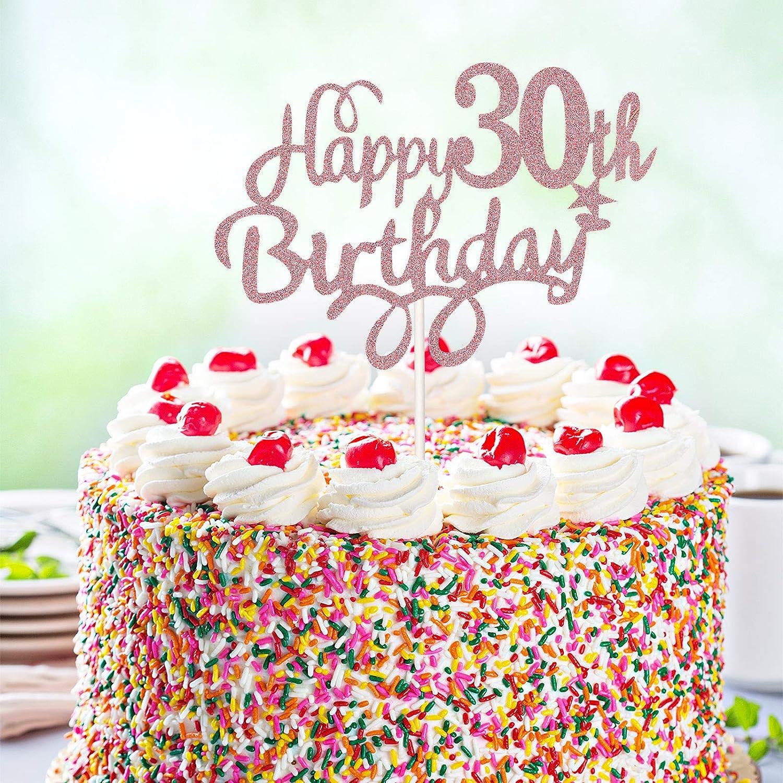 3 Toppers de Tarta de Cumplea/ños de Los 30 Palillos Toppers de Pastel Cupcake Happy 30th Birthday Decoraci/ón Brillante de Pastel para Fiesta de Cumplea/ños de Los 30 Dorado Rosado