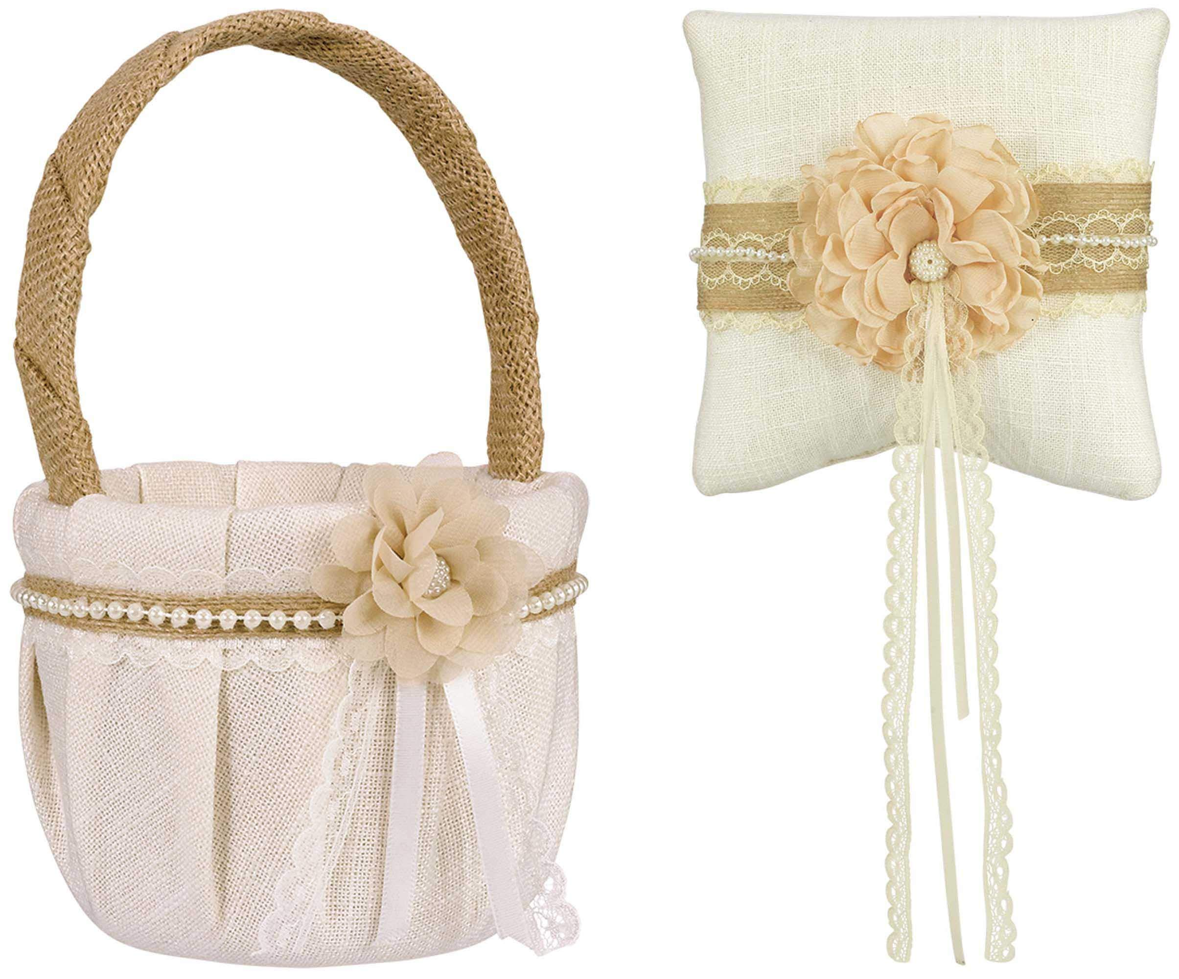 Stephanie Imports Rustic Ring Pillow with Matching Flower Basket Wrapped in Lace Fabric & Burlap with Pearls by Stephanie Imports