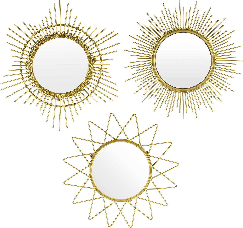 Kimisty Set 3 Sunburst Mirror, Gold Wall Mirror, 12 Inch Small Mirror as Boho Decoration, Gold Wall Decor, Starburst Mirror, SUNSTAR