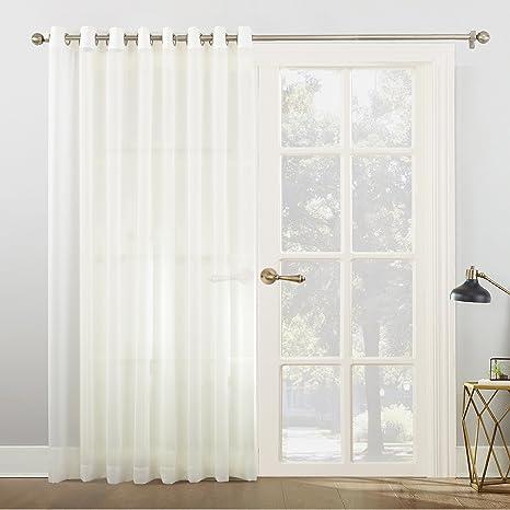 ado sheer Side window sheers and valance above door off white color door sheer Gathered sheer