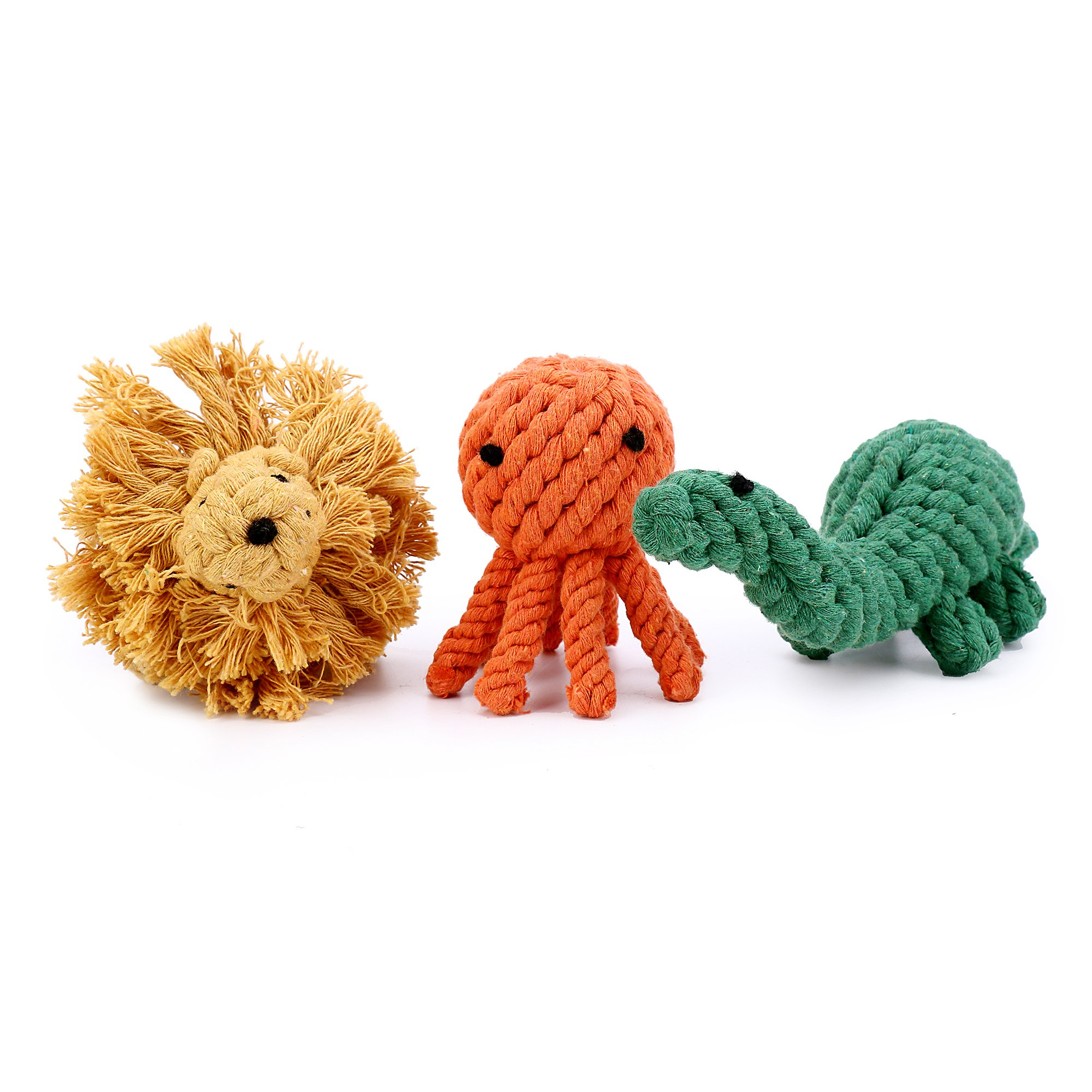 3-pack Cute Animal-Shape Tooth Clean Biting Durable Cotton Ropes Toy (Octopus-Lion-Dinosaur)