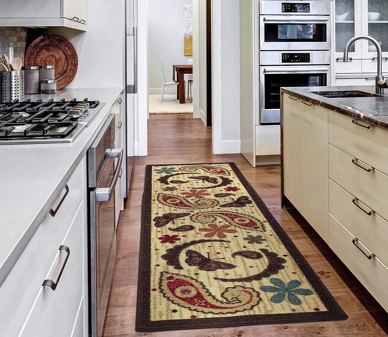 Amazon Com Ottomanson Sara S Kitchen Collection Paisley Design Non Slip Rubber Backing Runner Rug 20 X 59 Beige Furniture Decor