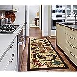 "Ottomanson Sara's Kitchen Paisley Design Mat Runner Rug with Non-Skid (Non-Slip) Rubber Backing, Beige, 20"" x 59"""