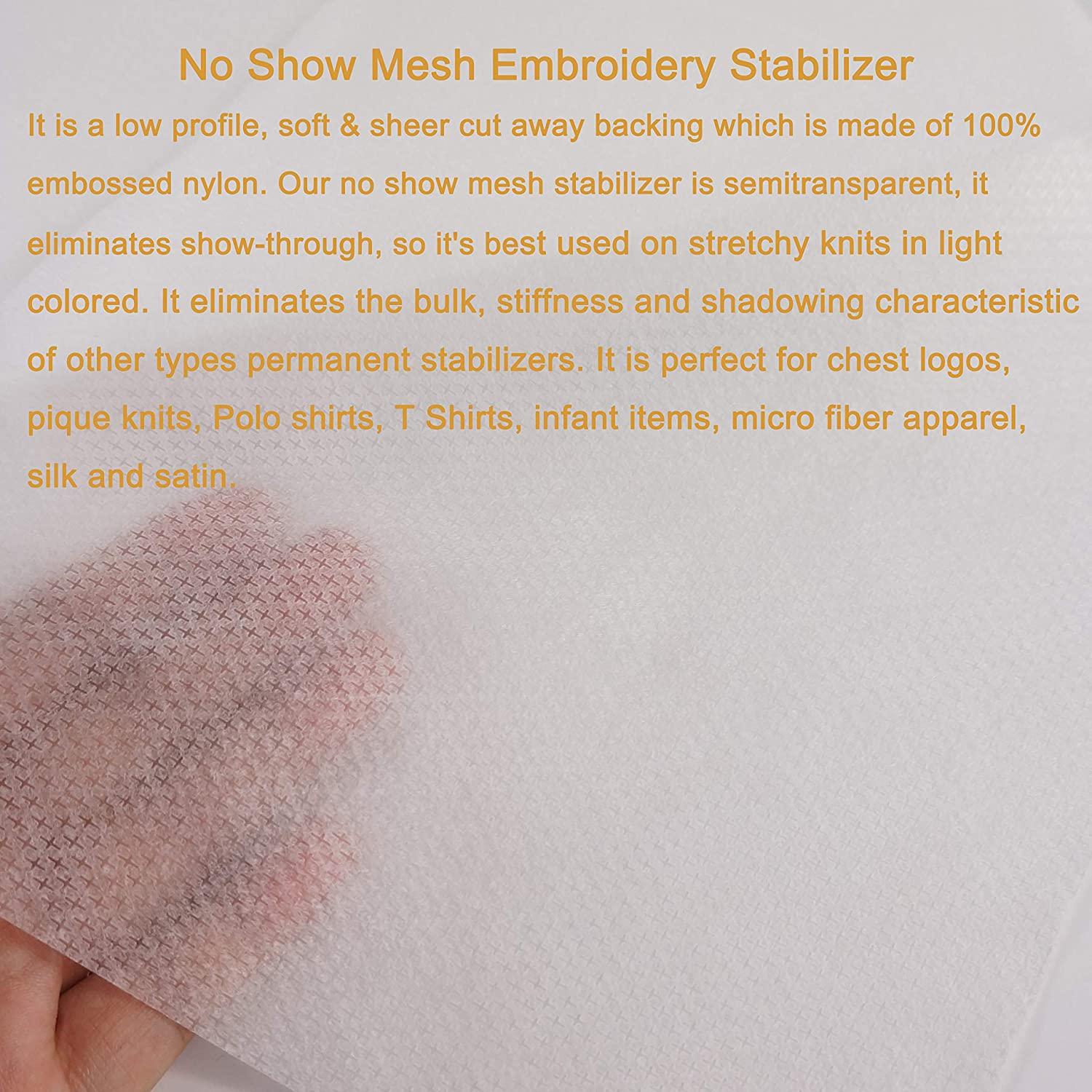 Light Weight 50gm 20cmx20cm New brothread No Show Mesh Machine Embroidery Stabilizer Backing 8x8 - 100 Precut Sheets 1.8oz - Fits Max Embroidery Area 15cmx15cm