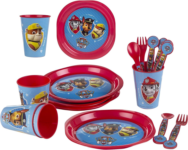 PAW PATROL - Pack de 16 Piezas: Vasos, Platos de plástico (Color ...