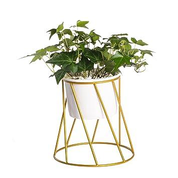 Geometrische Pflanzkübel, klein weiß Keramik Blumentopf mit Gold ...
