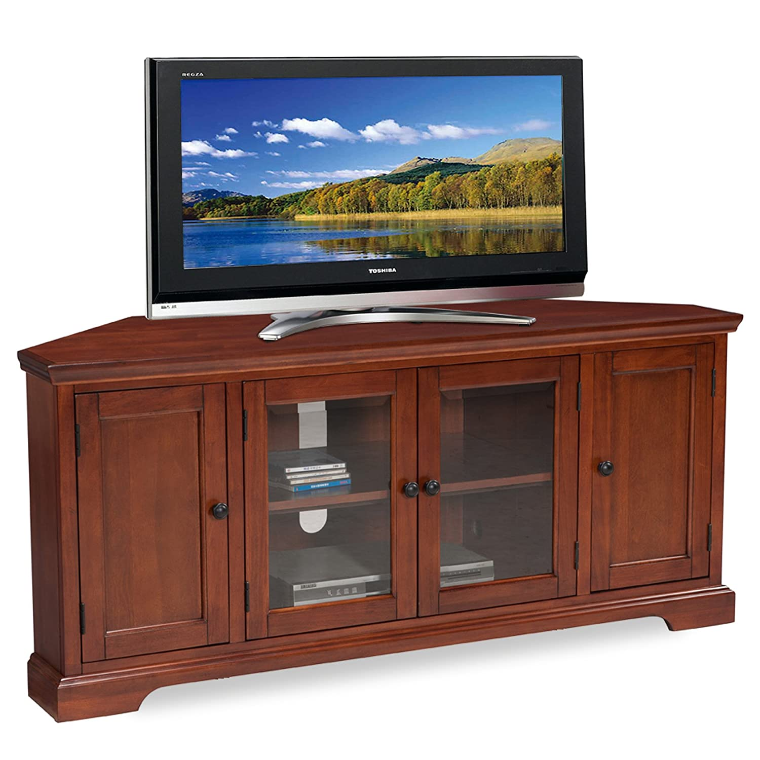 Amazon Com Leick Westwood Corner Tv Stand 60 Inch Cherry Hardwood