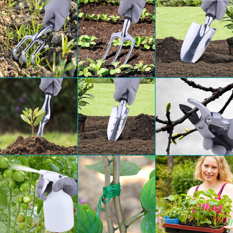 Set de Jardinería 10 Piezas NOUVCOO, Viene con Tijeras Acero Inoxible, Bolsa, Pala, Paleta, Rastrillos, Weeder, Guantes, Cuerda para atar plantas Rociador de Agua: Amazon.es: Jardín
