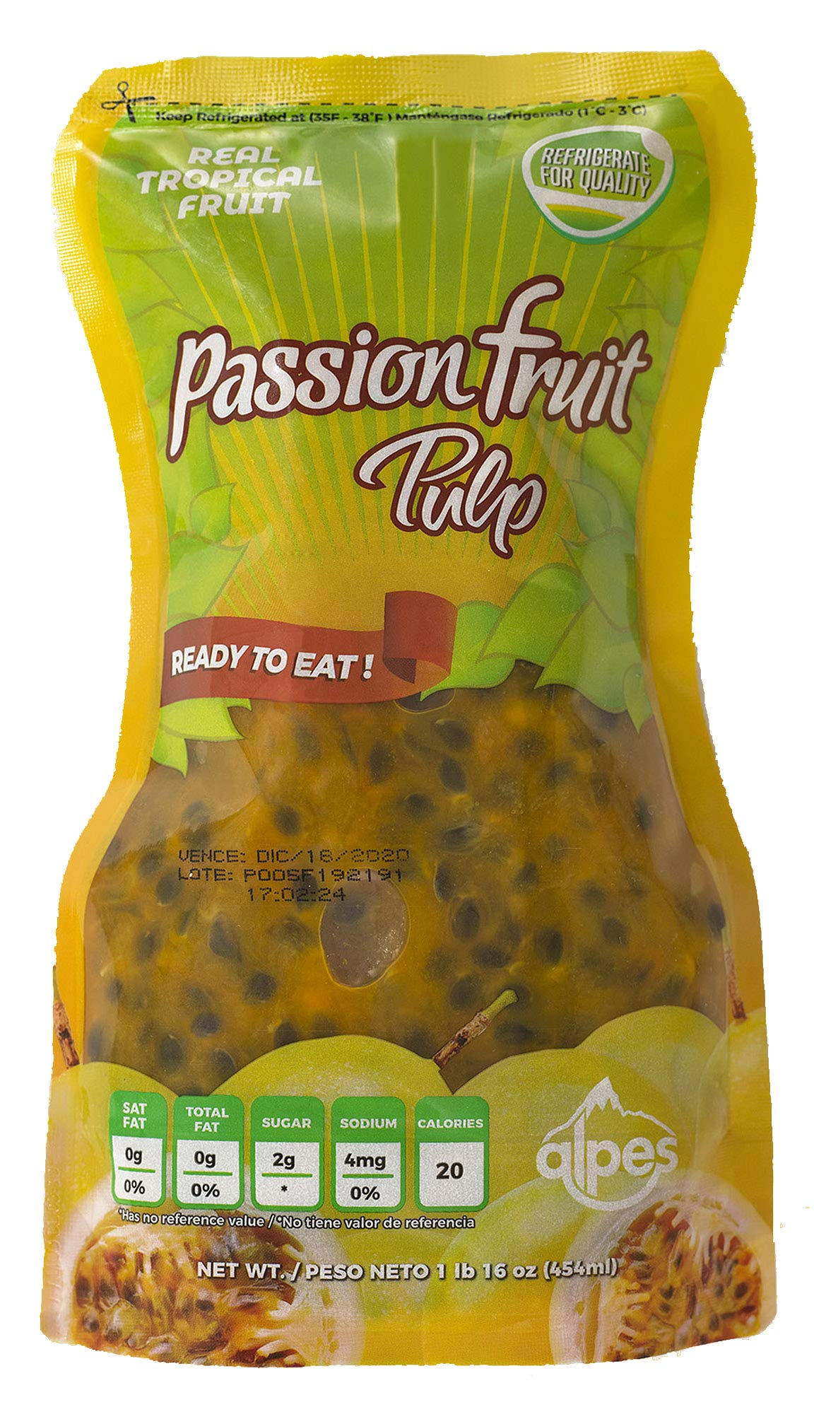 Alpes Passion Fruit Pulp with Real Tropical Fruit, Ready to Eat, 16 Oz