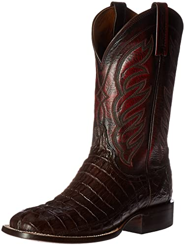 Lucchese Bootmaker Men's Landon Hrnbk Caiman Tail Riding Boot, Barrel Brown,  ...
