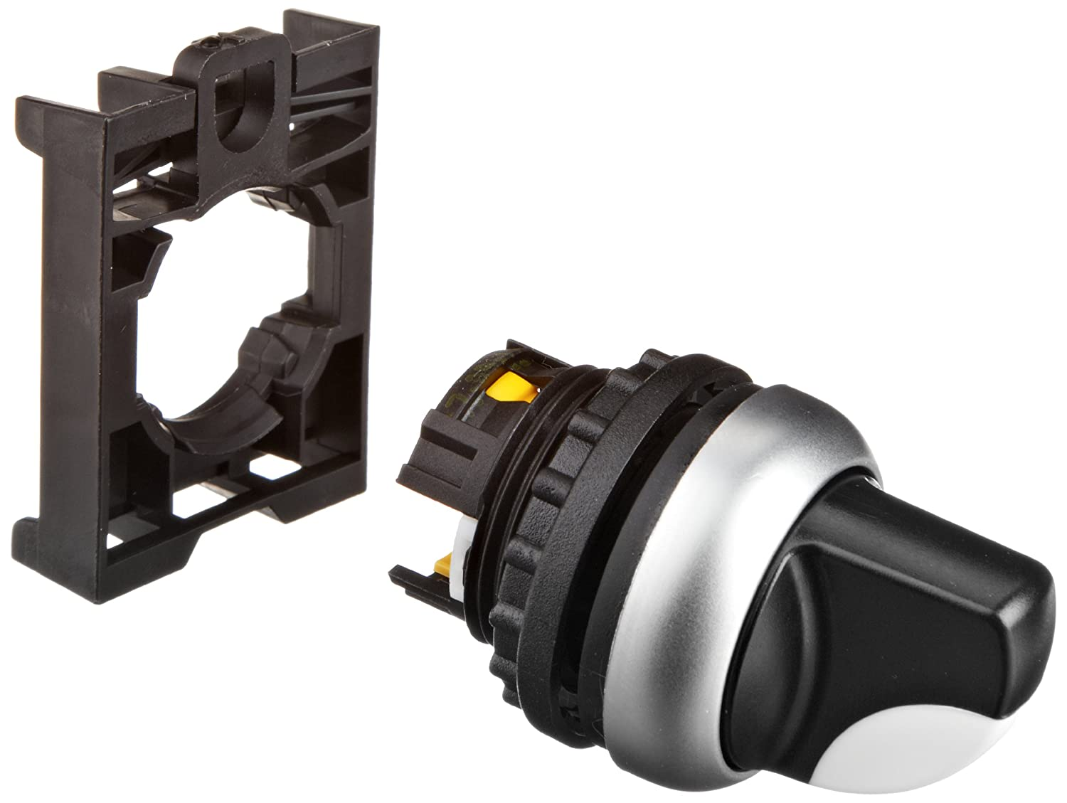Eaton M22-WK3 Selector Switch, 3 Positions, Lever Actuator Style, Off-On Action, Silver Bezel Color, 45 Degree Turning Radius