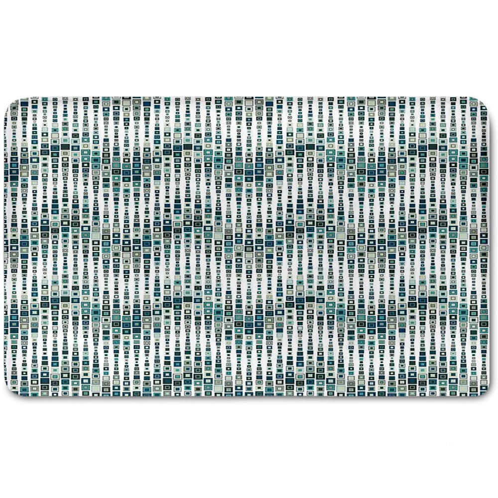Memory Foam Bath Mat,Geometric,Wave Shape Geometric Figures Color Tile Mosaic Artistic Composition with SquaresPlush Wanderlust Bathroom Decor Mat Rug Carpet with Anti-Slip Backing,White Blue