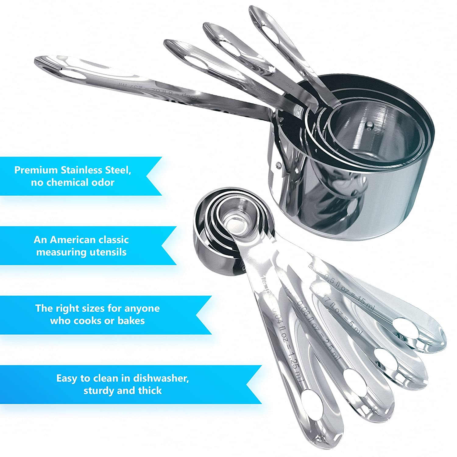 Amazon.com: Nesting Stainless Steel Measuring Cups and Spoons, Set ...