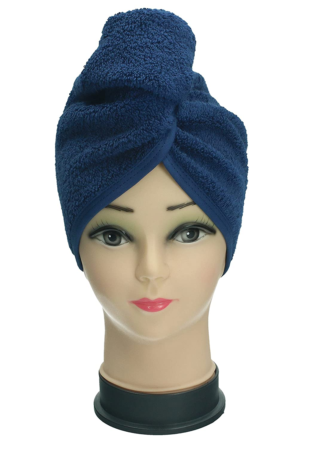 BETZ Set di 2 asciugamani turbante asciugamano turbante cuffia turbante 100% cotone colore blu scuro