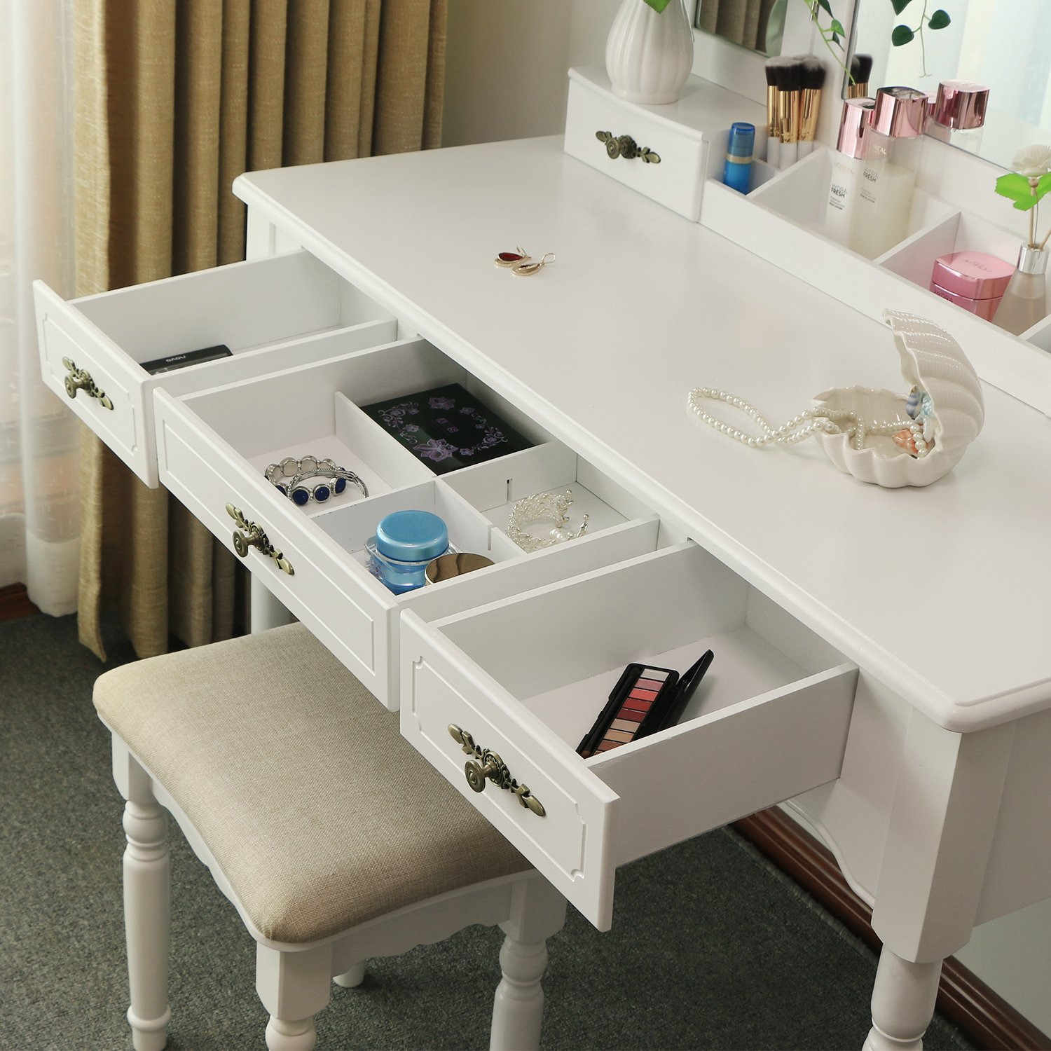 Bewishome vanity makeup table set 5 drawers desk organizer 2 bewishome vanity makeup table set 5 drawers desk organizer 2 dividers tri folding mirror cushioned stool makeup vanity desk dressing table white fst03m watchthetrailerfo