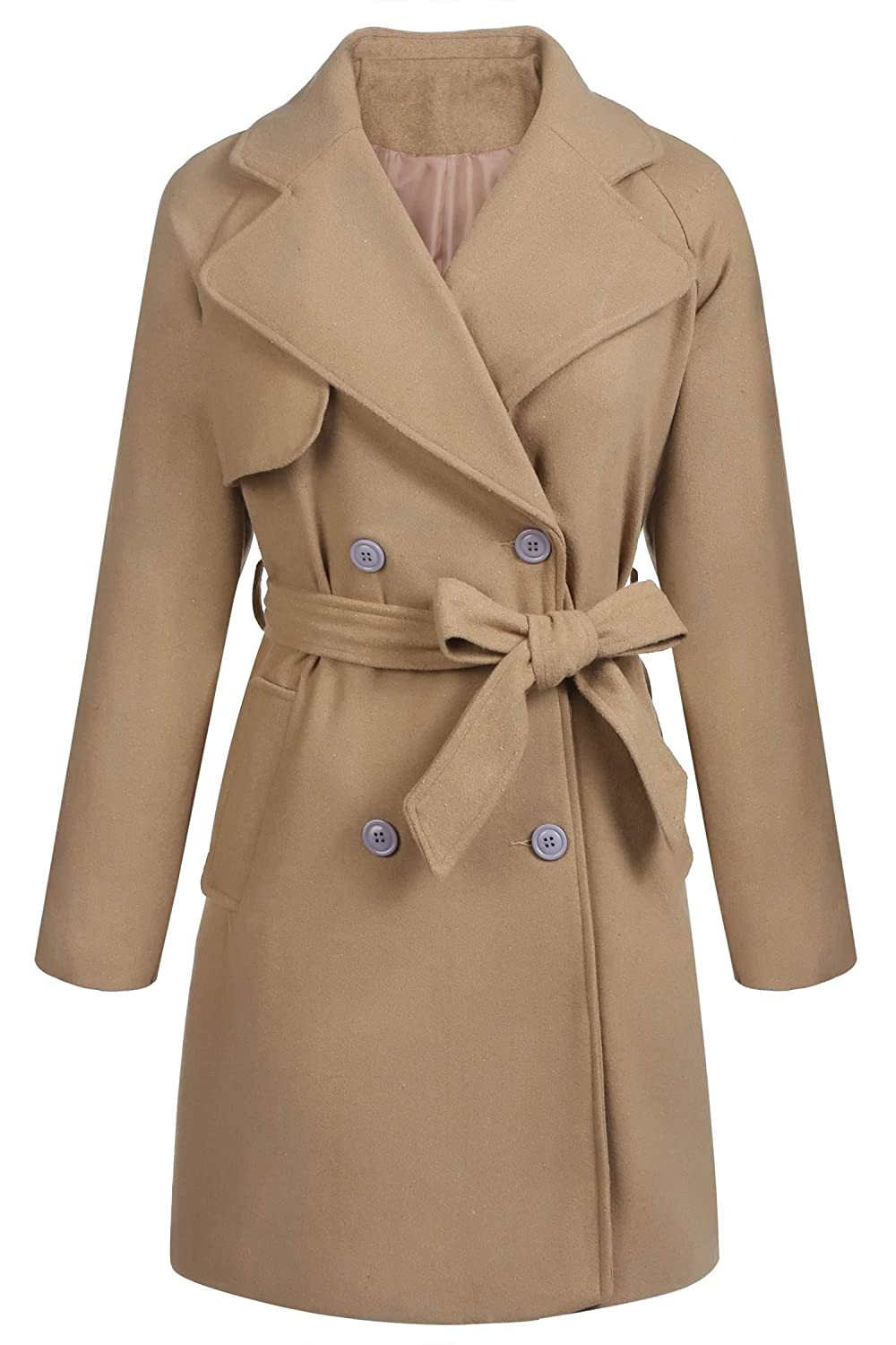 Yayado Womens Pea Coat Lapel Double-Breasted Thick Trench Coat Jacket with Belt YOH022432