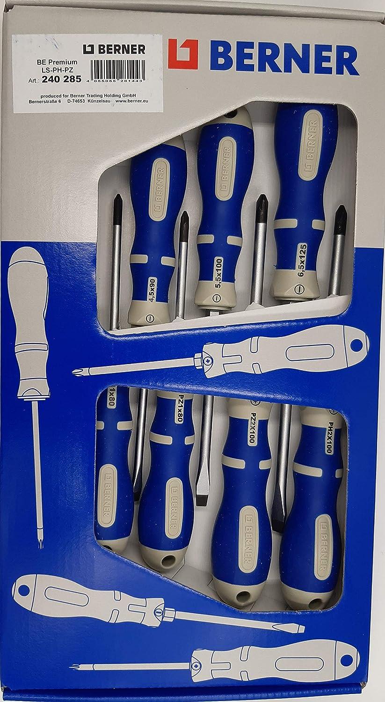 destornillador de cruz y ranurado l/ínea premium BERNER Juego de destornilladores profesionales de 7 piezas hoja redonda con hex/ágono magn/ético