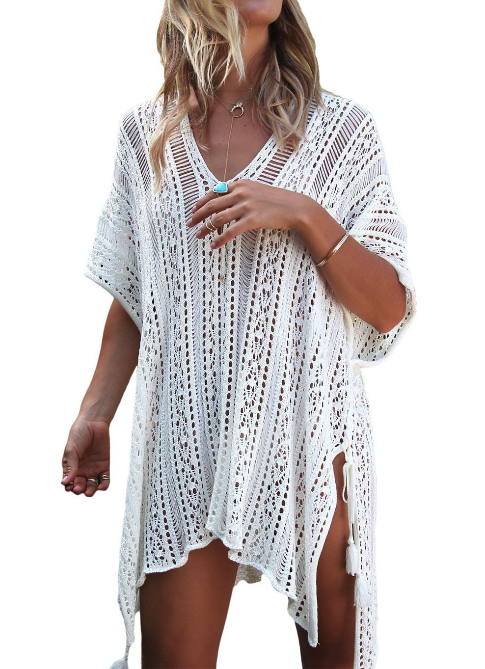 Lealac Women's Summer Cotton Bathing Suit Cover Up Beach Bikini Swimsuit Swimwear Crochet Dress Gift For Women LXF13 White