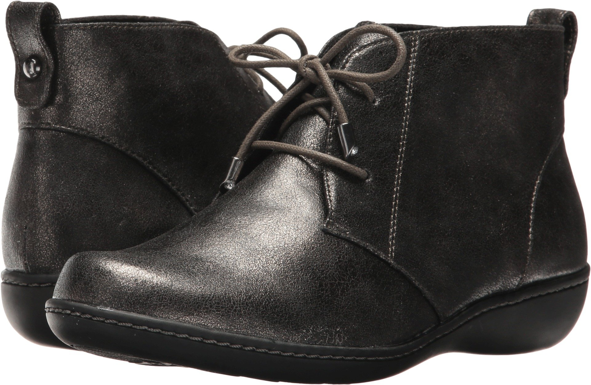 Soft Style by Hush Puppies Women's Jinger Ankle Bootie, Gunmetal Metallic, 8 N US