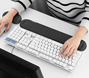 BOONA Superfine Fiber Soft Memory Foam Gel Mouse Pad Wrist Ret Support and Non-Slip Keyboard Hand Protection Set for Easy Typing and Pain Relief (Black M+S)