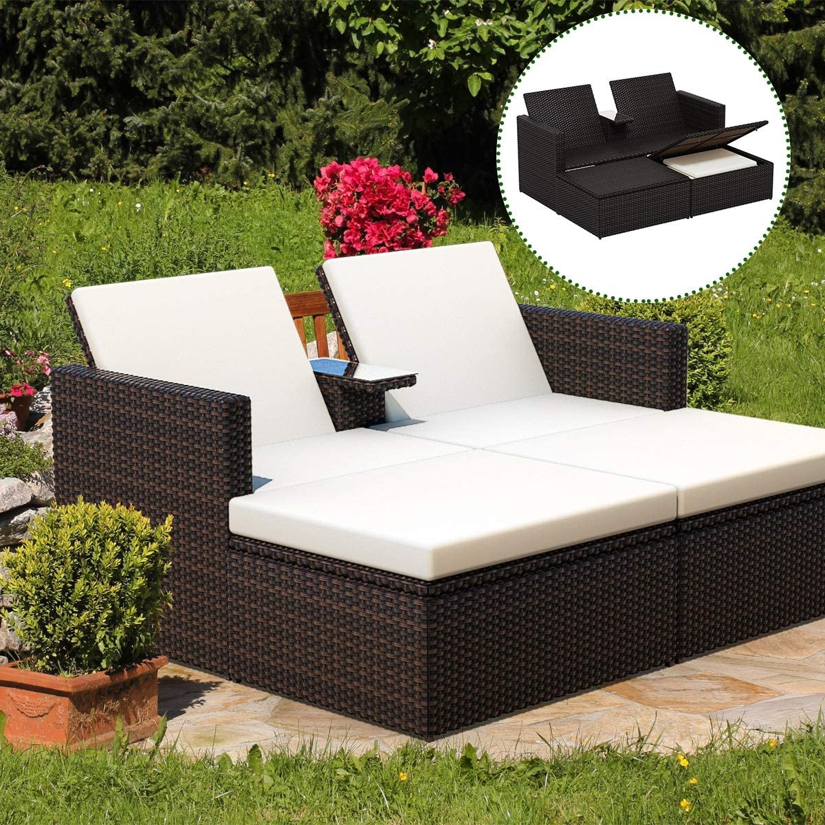 Tangkula 3 Pieces Wicker Chaise, with Storage Ottoman, Outdoor Poolside Garden Adjustable Sun Lounge Bed with Table and Cushions, Patio Furniture Set