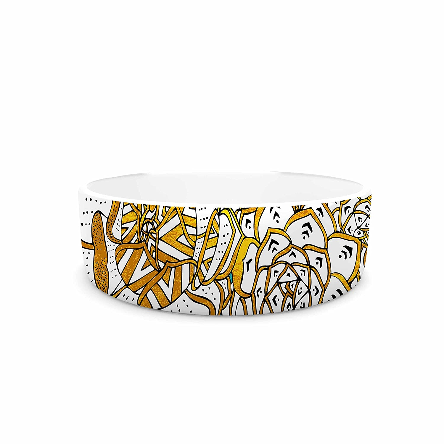 KESS InHouse Pom Graphic Design Bohemian Succulents II Teal gold Floral Pet Bowl, 7  Diameter